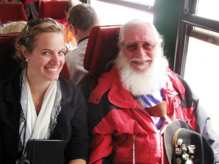 Sondra and her new friend on the cog train