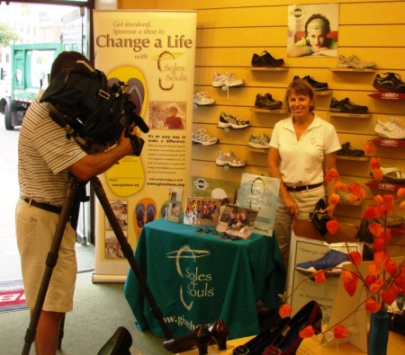 Doing a TV interview about Comfort One and Soles4Souls