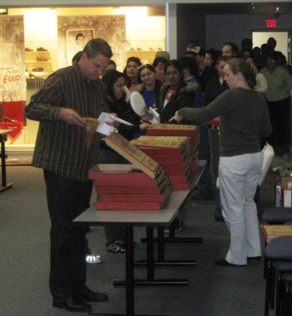 ECCO employees enjoying pizza